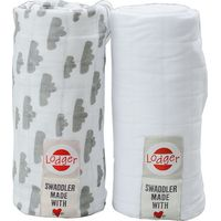 Hydrofiele Doeken Swaddler 2-Pack Grey/White - Lodger