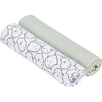 Lässig Swaddle & Burp Blanket X- Large - Little Spookies Olive