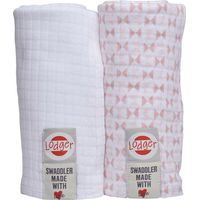 Hydrofiele Doeken Swaddler 2-Pack Scandinavian Print Blush/White - Lodger