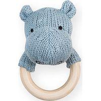 Jollein Rammelaar Bijtring Soft Knit Hippo - Soft Blue