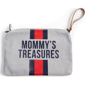 Childhome Mommy Clutch Bag Canvas - Grey Stripes Red/Blue