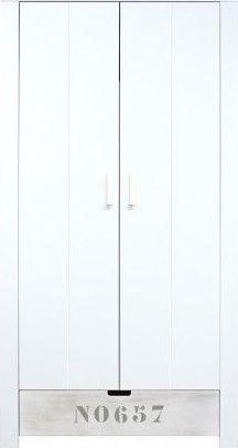 Bopita 2-Deurskast Medium White/Blue Wash NO657 - Basic Wood BabyFlex