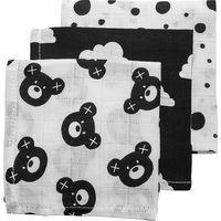 Meyco Hydrofiele Monddoekjes Bear / Clouds / Dots - Zwart/Wit