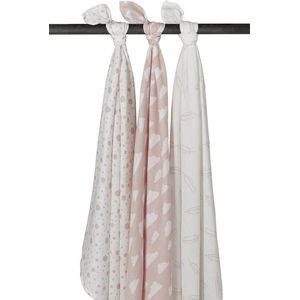 Meyco Swaddle -Feather - Clouds - Dots Roze
