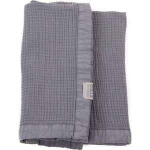 Stapelgoed Plaid Waffel Stonewash Gunmetal 100x150