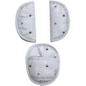 Dooky Universal Pads Gordelbeschermers - Light Grey Crowns