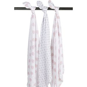 Meyco Swaddle - Geometric Heart  -Triangle Roze - Grijs - Wit