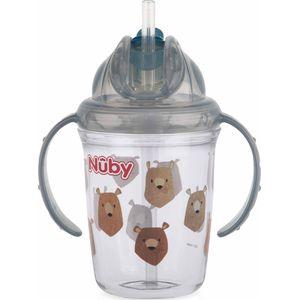 Nuby Flip-It Antilekbeker Met Handvatten En Rietje - Grey
