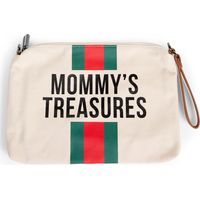 Childhome Mommy Clutch Bag Canvas - OffWhite Stripes Green/Red