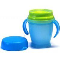 Kiddyboo 360° antiknoei drinkbeker Azuurblauw/Lime