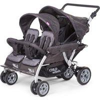 Childhome Quadruple 2 Autobrake Wandelwagen Antraciet 4 Kinderen