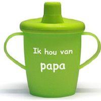 """Antilekbeker """"ik hou van papa"""" groen"""