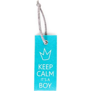 Childhome Deurhanger Mint Blauw - Keep Calm Its A Boy