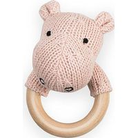 Jollein Rammelaar Bijtring Soft Knit Hippo - Creamy Peach