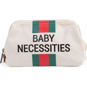 Childhome Baby Necessities Toilettas Canvas - OffWhite Stripes Green/Red