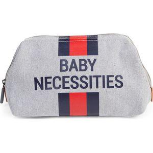 Childhome Baby Necessities Toilettas Canvas - Grey Stripes Red/Blue