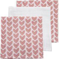 Meyco Hydrofiele Monddoekjes Knitted Heart Oudroze- Wit