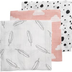 Meyco Hydrofiele Luiers - Feather - Clouds - Dots Roze - Wit