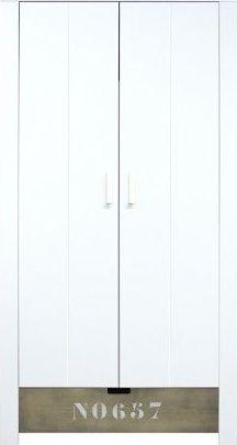 Bopita 2-Deurskast Medium White/Stone Wash NO657 - Basic Wood Babyflex