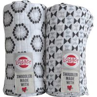 Hydrofiele Doeken Swaddler 2-Pack Limited Edition Triangle/ Flower Print Black-White - Lodger