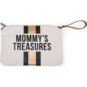 Childhome Mommy Clutch Bag Canvas - OffWhite Stripes Black/Gold
