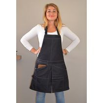 schort met split zwart Bib Chap Black Denim