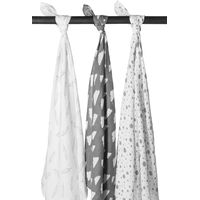 Meyco Swaddle - Feather -Clouds - Dots Grijs - Wit