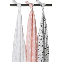 Meyco Swaddle Feather/Clouds - Roze/Wit