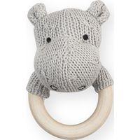 Jollein Rammelaar Bijtring Soft Knit Hippo - Light Grey