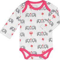 Fresk Romper Lange Mouw Elephant Grijs/Roze 3-6 mnd